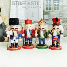 Wholesale Media Desktop - Christmas Wooden Figures 15cm Walnut Soldiers Snowman Santa Tree Model Wood Made Figure Desktop Christmas Decorations 4pcs Set OOA3336