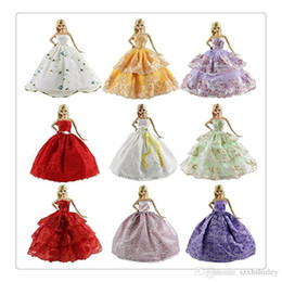 Wholesale Punk Japanese Fashion - 2016 Hot 6PCS Dolls Clothes Fashion Handmade Clothes Dress Wedding Dress Party Dress For Barbie Doll XMAS Gift Style Color Random