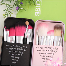 Wholesale Hello Hair Kitty - limited edition hello Kitty lovely makeup brush suit 7 iron box cartoon pink blush makeup brush DHL Free shipping