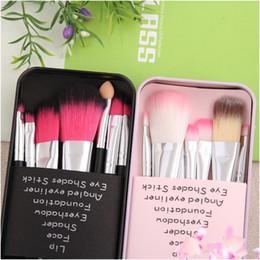 Wholesale Pink Shipping Boxes - hello Kitty lovely makeup brush suit 7 iron box cartoon pink blush makeup brush DHL Free shipping