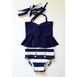 Wholesale Cute Baby Swimwear - 2016 Baby Girls Kids Tankini Bikini Suit Button Striped Bottoms Swimsuit Swimwear Bathing Suit