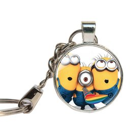 Wholesale Despicable Minion Glasses - Despicable Me Keychains Minion Action Movie Key Rings Cartoon Anime Dome Key Chains Cabochon Key Cover Jewelry Children's Gift