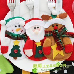 Wholesale Reindeer Set - Tableware Set Non Woven Fabric Practical Knife And Fork Bag Creative Reindeer Santa Claus Snowman Decor 2 3qy F R