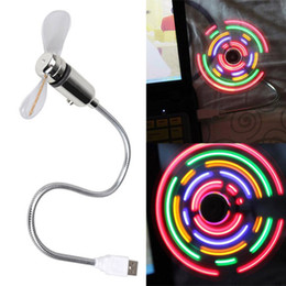 Wholesale China Led Lights Retail - Mini Flexible USB LED Fan with 5 Color LED Light Switchable Cool Gadget flexible usb clock fan gadgets cool Usb fan Retail Packing