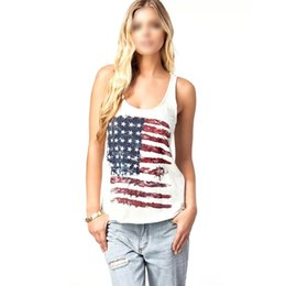 Wholesale Blouses American Flag - Wholesale-Sexy Womens American Flag Vest Tank Tops Sleeveless Shirt Blouse Camisole