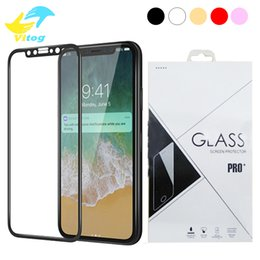 Wholesale Iphone Clear Cover Screen - 3D Round Edge full cover Screen Protector Drop Proof HD Clear Tempered Glass for iPhone 6 6s plus 7 7 plus Black white Gold Rose Gold