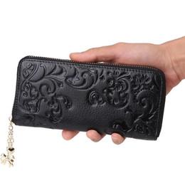 Wholesale Fresh Flower Cards - HMILY New Women Genuine Leather Clutch Wallet Flower Pattern Long Purse Ladies Fashion Phone Case Classic Style Money Clip