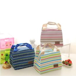 Wholesale Thermal Zipper Bags - 3 Colors Portable Lunch Bag Zipper Oxford Stripe Cooler Bag Thermal Insulation Bags Travel Picnic Food Lunch Bag CCA6955 100pcs