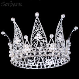 Wholesale Large Tiara Crown - Queen Pageant Crown Tiaras & Hair Accessories Princess Royal Crown Fine Handmade Diamond Exaggerated Large Crown Limited Edition