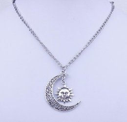 Wholesale Crescent Moon Star Pendant - Antique Silver Plated Alloy Crescent Moon Sun Tree anchor Cross And Star Pendant Necklace For Girls And Women cc746
