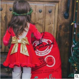 Wholesale Wholesale American Flannel - Girls Flannel Christmas Dress Winter Cute Long Sleeve Red Backless Bow Dress Baby Girls Party New Year Evening Dresses Boutique Clothing