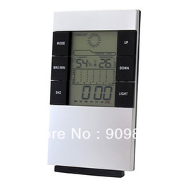Wholesale Led Temperature Meter - Multifunction Temperature Humidity Meter With Digital Blue LED Display Backlight Portable Thermometer Hygrometer Clock Free Shipping