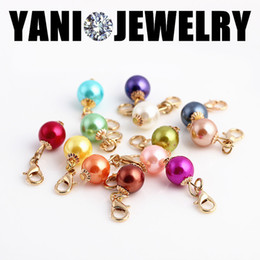 Wholesale Colorful Round Wholesale Beads - Colorful Crystal Bead Floating Dangle Charms Pendant with Lobster Clasp Round Pearl Charm for Floating Locket Necklace