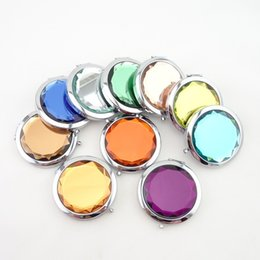 Wholesale Gift Compact Mirrors - 7cm Folding Compact Mirror With Crystal Metal Pocket Mirror For Wedding Gift Portable Home Office Use Makeup Mirror