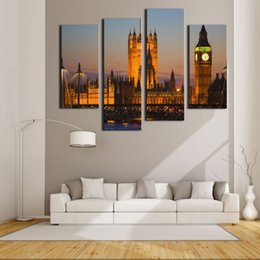 Wholesale arts architecture - 4 Picture Combination Wall Art For Home Decoration Big Ben House Of Parliament Westminster Bridge Dusk London Architecture
