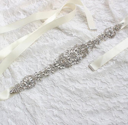 Wholesale Cheap White Satin Sash Belt - 2017 Cheap Dress Belt Wedding Dresses Sash Bridal Belts Rhinestone Crystal Ribbon From Prom Evening Princess Handmade White Red Black Blush