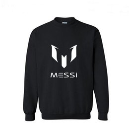 Wholesale Casual European Style Hoodie - Wholesale-Free shippin Autumn European Style fashion casual Barcelona MESSI Soccer streetwear Football O-Neck fleece hoodies sweatshirt