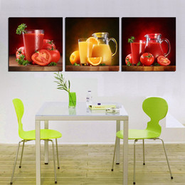 Wholesale Orange Trees Pictures - unframed 3 Pieces picture free shipping Canvas Prints Tomatoes orange fruit juice sea sandy beach coconut tree potted flower rose tulips