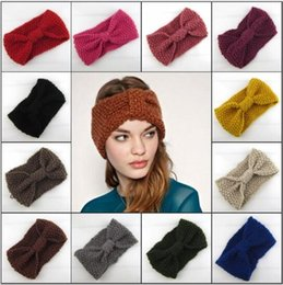 Wholesale Womens Winter Fashion Headbands - Women's Fashion Wool Crochet Headband Knit Hair band Flower Knitted Head wrap womens Winter Ear Warmer 20 colors