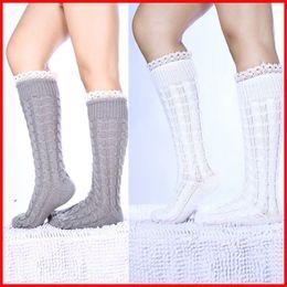Wholesale Thermal Knee High Socks Women - Knit Twist Knee high Socks Leg Warm Stockings Boots Cuff Socks Thermal Socks for women Winter Leg Warmer knee socks Christmas Gift 010037