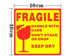 Wholesale Sticker Fragile - Wholesale- 300pcs FRAGILE HANDLE WITH CARE10x10cm Self-adhesive Shipping Label Sticker russian language