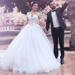robe de bal populaire Promotion 2017 Populaire Robe De Mariée Puffy Robe De Bal Appliques Robes De Mariée Élégant Robes De Mariée Vestidos Voir À Travers Pochettes