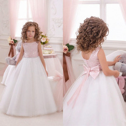 Wholesale Tea Length Wedding Dresses Organza - 2017 Custom Made Beautiful Pink Flower Girls Dresses for Weddings Pretty Formal Girls Gowns Cute Satin Puffy Tulle Pageant Dress Sprin