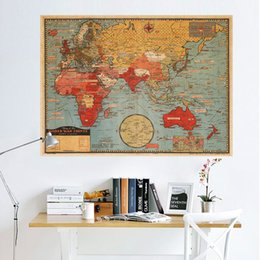 Wholesale wall stickers map world - World Map English Version National Geographic Atlantic International Wall Stickers Kraft Paper Poster Room Home Décor free shipping