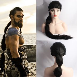 Wholesale Long Men Hair Wig - Z&F Game Of Throne Cosplay Wig Khal Drogo Cosplay Wig 75cm Long Braid Cosplay Wig Black Rose Hair Net High Quality For Strong Man