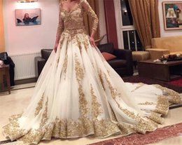 Wholesale Two Color Bridesmaids Dress - Gold Lace Beads Luxury V Neck 3 4 Long Sleeves Chapel Train Vintage Bridal Dresses Cinderella Two Pieces Wedding Dress Arabic Ball Gown