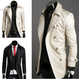 Wholesale Stylish Men Trench Coats - men 2017 designer Autumn windbreaker Double Breasted Casual Long Trench Coat Jacket Windbreak Outwear With Belt Black Beige Fashion Stylish