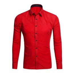 Wholesale Designer Style Long Sleeve Dresses - Men Clothing New Style Men's Shirt Designer Casual Dress Shirts Plain Stripe Stylish Dress Slim Fit Long Sleeve Candy Colors 017