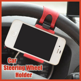 Wholesale Wholesale Wheel Strap - Transverse Car Steering Wheel Cradle Holder wide strap stronger won't looseness for iphone samsung Huawei Cell Phone GPS navigation With box
