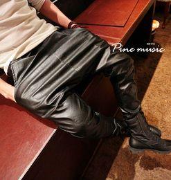 Wholesale Leather Harem Trousers - Wholesale-New fashion Spring Autumn men drop crotch harem trousers men baggy Black casual punk elastic waist Plus size faux leather pants