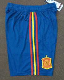 Wholesale Men S Home Pants - Spain 2018 World Cup home red football shorts MORATA ISCO ASENSIO RAMOS SILVA PEDRO TORRES A INIESTA FABREGAS Soccer pants