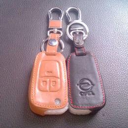 Wholesale Vauxhall Astra - Vauxhall Opel Astra J Car Keychain Genuine Leather Key Case Cover 3 Button Remote Car Key Shell Cover Chain Ring Car Accessories