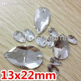Wholesale Droplet Sew Stones - Wholesale-Free Ship 60pcs 13x22mm Pear Drop Flatback Sew On Rhinestones Crystal Clear color droplet Sew On Stone 2holes Silver Base