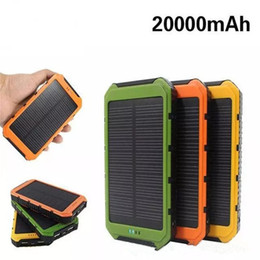 Wholesale Powerbank 2a - 20000mAh Novel solar Power Bank Ultra-thin Waterproof shockproof Solar Power Banks 2A Output Cell Phone Portable Charger Solar Powerbank