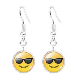 Wholesale Steel Time Jewelry - 2018 emoji Stud Earrings DIY Time gem tassel earrings 12mm glass Glass Cabochon Fine Jewelry For Women Party Gift .60pcs 30Pairs  lot 40