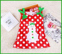 Wholesale Kids Dresses Cheap Prices - factory cheap price children vestidos white dot green bow Sweet Baby Girls Dress Kids Christmas Cute Snowman Bowknot Party Dress 2~7Y