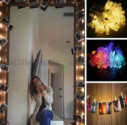 Wholesale christmas holiday photo - NEW 5M 20Led Christmas lights new year party wedding home decoration, clip photo string lights,led christmas clip light MYY