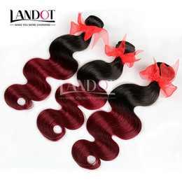 two tone brazilian hair red Promo Codes - Ombre Brazilian Virgin Hair Weaves Two Tone 1B 99J Burgundy Wine Red Peruvian Malaysian Indian Cambodian Body Wave Human Hair Extensions
