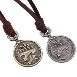 Wholesale Mass Steels - Leather Necklace Pendant Brand Necklace Service Medal Jewelry Antique Coin Crucifix Jesus Mass Pendant Necklaces For Women Men