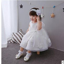 Wholesale Wholesale Christening Gown - Baby Girls Princess Dresses Kids Big Bows Dress Infants Appliqued First Christening clothes Child formal wedding Party Clothes G1198