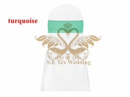 Wholesale Looking For Wedding - Nice Looking Turquoise Color Lycra Spandex Chair Band Sash For Wedding Chair Cover