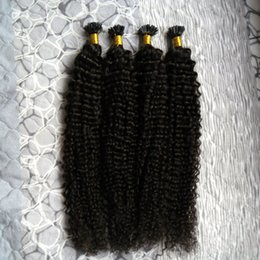 Wholesale black u tip hair - U Tip Hair keratin stick tip hair extensions kinky curly 200g 200s Natural Color keratin prebonded nail U tip REMY hair extensions