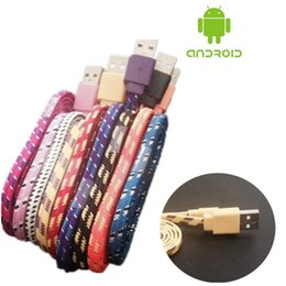 Wholesale Wholesaler Price Noodles - Premium price&Quality flat Micro USB Braided Cable fabric Noodle Charging copper Wire 1M 3ft Nylon flat Woven For iphone Samsung Android