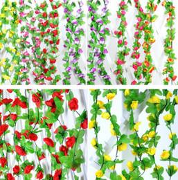 2019 i fiori artificiali sembrano reali 2.3 m 7.5ft artificiale fiore di rosa edera foglia di vite ghirlanda romantico festa di matrimonio decorazioni per la casa di natale indoor outdoor decorazioni puntelli in rattan