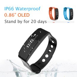 Wholesale Gps Watch Calories - Smart Bracelet Band With 0.86 OLED Touchpad Band Waterproof Bracelet Smart Watch Sleep Monitor GPS Track Calorie Record Shaking alarm clock