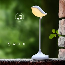 Wholesale Touch Led Eyes Protect - Wholesale- New LED 3D Bird Bluetooth Audio Night Light USB Rechargeable LED Dimmer Eye Protect Touch Table Lamps Dimmable Night lights